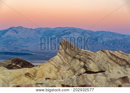 Early morning view of Zabriskie Point in Death Valley National Park in California