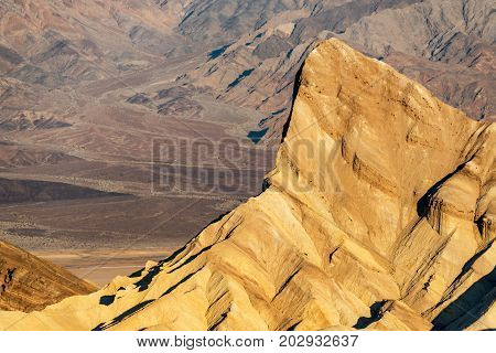 Closeup view of Zabriskie Point in Death Valley National Park in California