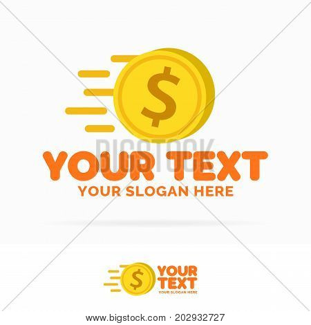 Money logo set consisting of flying money and sign dollar isolated on background for payment, finance company, investment, bank, money, exchange, cryptocurrency etc. Vector Illustration