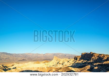 Wide angle view of Zabriskie Point in Death Valley in California