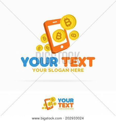 Bitcoin payment mobile logo set consisting of flying money and phone flat style isolated on white background for money exchange, payment, bank, cryptocurrency etc. Vector Illustration