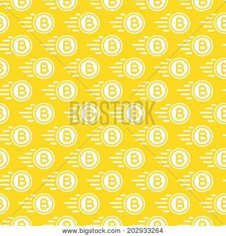 Bitcoin seamless pattern consisting of flying money white color flat style for finance company, cryptocurrency, payment, investment, bank, money exchange etc. Vector Illustration