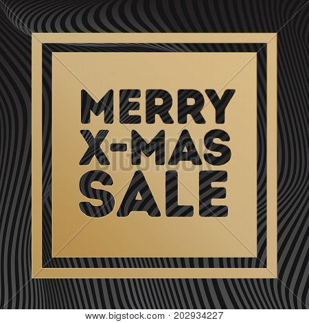 Merry x mas sale banner gold style on gradient line background black color for special offer, sale, promotion, black friday, advertisement, hot price and discount poster. Vector Illustration