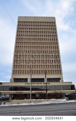 UTICA, NY, USA - FEB. 22, 2013: Utica State Office Building is a modernist style building on 207 Genesee Street in downtown Utica, New York State, USA. This building is the highest building in Utica.