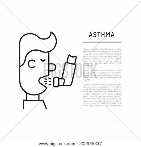 A person with asthma takes medication using an inhaler, vector illustration in a outline style.