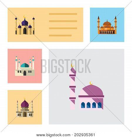Flat Icon Minaret Set Of Mohammedanism, Mosque, Building And Other Vector Objects