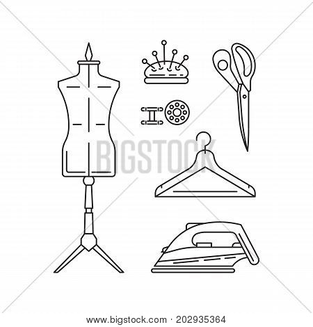 Sewing icons outline vector set. Outline tools and equipment for dressmaker and needlework. Linear vector atelier symbols. Tailor instruments tools kit. poster
