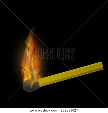 Burning Match with Fire Flame Isolated on Black Background