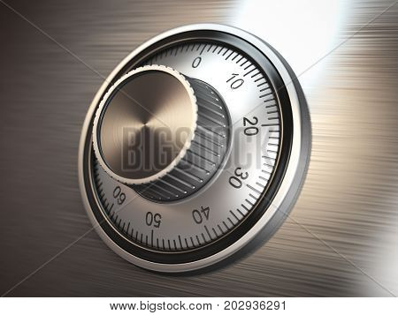 Safe vault lock on metal door. 3d illustration