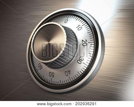 Safe vault lock on metal door. 3d illustration