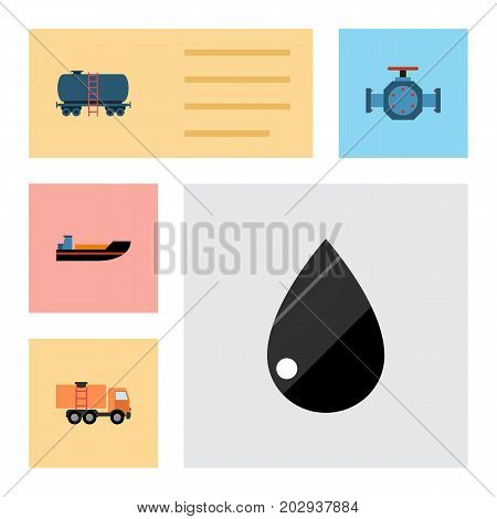 Flat Icon Fuel Set Of Boat, Flange, Van And Other Vector Objects