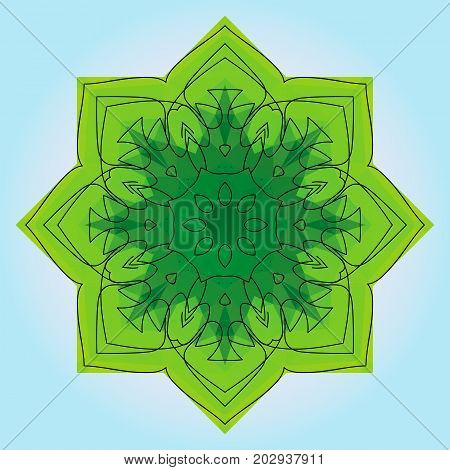 Green eight-pointed mandala. There is an option in the vector.