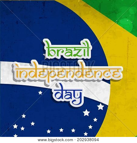 illustration of Brazil flag background with brazil Independence Day text on the occasion of Brazil Independence Day