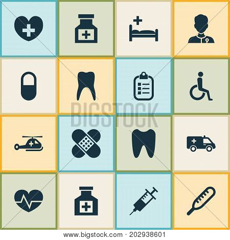 Antibiotic Icons Set. Collection Of Copter, Polyclinic, Heal And Other Elements