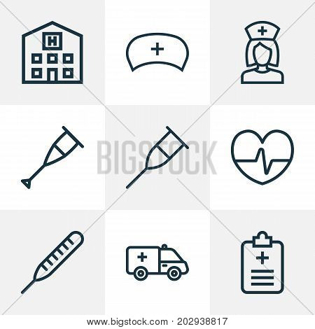Medicine Outline Icons Set. Collection Of Building, Nurse, Heartbeat And Other Elements