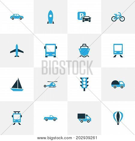 Transportation Colorful Icons Set. Collection Of Auto, Chopper, Autobus And Other Elements