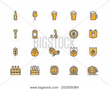 Set of vector beer and bar, pub colored line icons. Alcohol, bottle, mug, barley, hop, barrel, ale, froth, keg, beaker, jar and more. Editable Stroke.