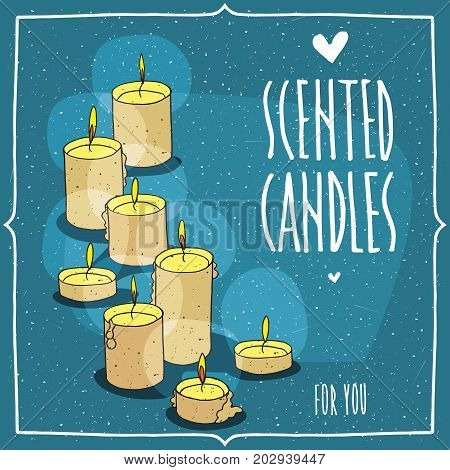 Composition with yellow burning candles. Isolated blue background. Cartoon hand draw style. Lettering inscription Scented Candles For You
