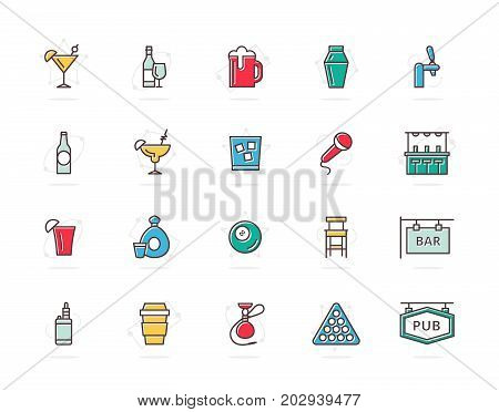 Set of vector alcohol and bar, night club colored line icons. Cocktail, wine, beer, cup, tequila, cognac, whiskey, shaker, whisky, karaoke, vape, shot, tap, billiard, hookah and more. Editable Stroke.