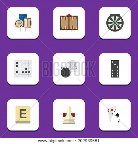 Flat Icon Games Set Of Mahjong, Arrow, Chequer And Other Vector Objects