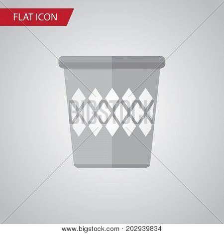 Trashcan Vector Element Can Be Used For Trashcan, Bin, Basket Design Concept.  Isolated Bin Flat Icon.