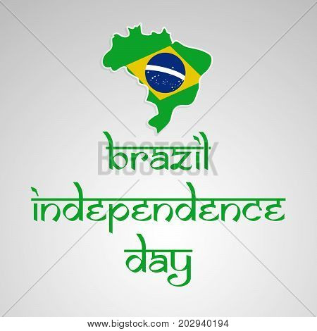 illustration of Brazil map in Brazil flag background with Happy Independence Day text on the occasion of Brazil Independence Day