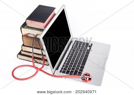 Red Stethoscope And Books