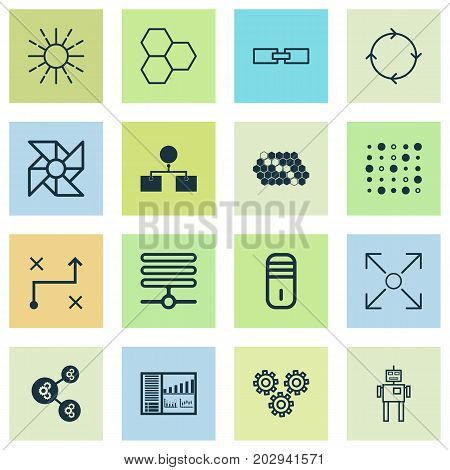 Robotics Icons Set. Collection Of Variable Architecture, Information Components, Branching Program And Other Elements