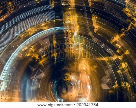 night crossroad, top view, aerial shoot
