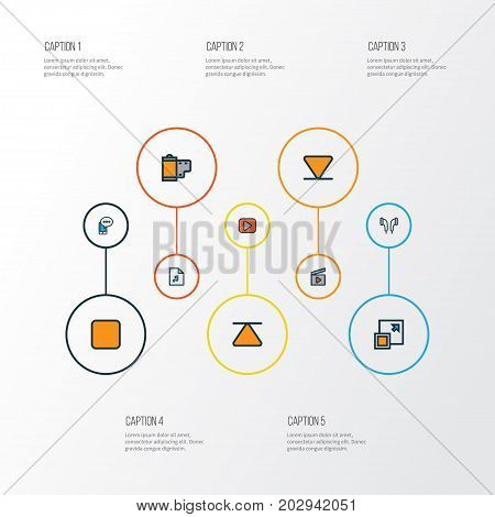 Music Colorful Outline Icons Set. Collection Of Playlist, Mobile Content, Eject And Other Elements