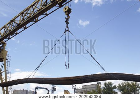 Structural elements of the crane during loading and unloading in the warehouse
