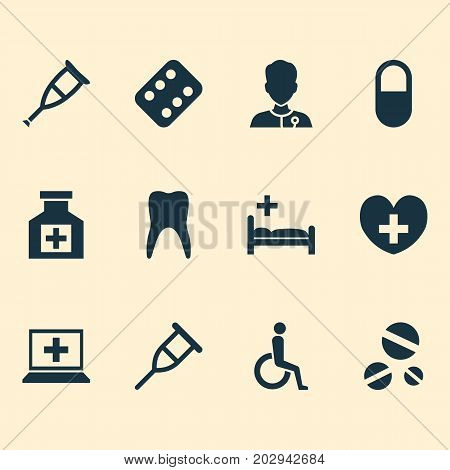 Drug Icons Set. Collection Of Polyclinic, Healer, Spike And Other Elements