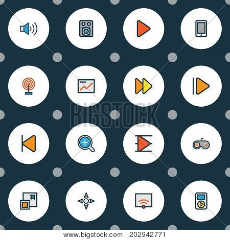 Media Colorful Outline Icons Set. Collection Of Song List, Gamepad, Cast And Other Elements