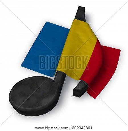 music note symbol and flag of romania - 3d rendering