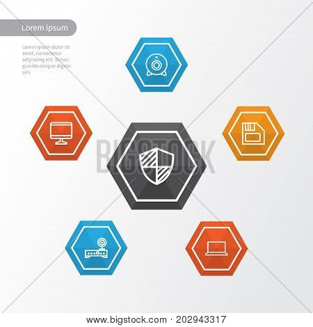 Hardware Outline Icons Set. Collection Of Protect, Camera, Modem And Other Elements