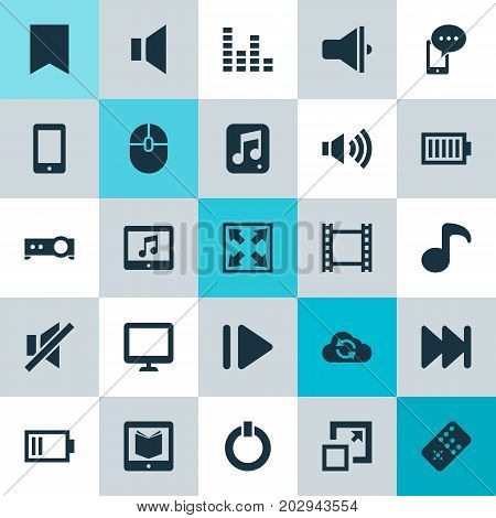 Media Icons Set. Collection Of Power, Tablet, Forward And Other Elements