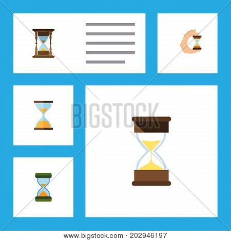 Flat Icon Hourglass Set Of Sandglass, Sand Timer, Hourglass Vector Objects