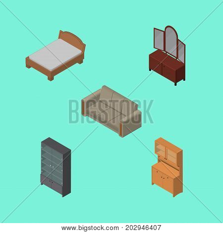 Isometric Furniture Set Of Sideboard, Bedstead, Cupboard And Other Vector Objects