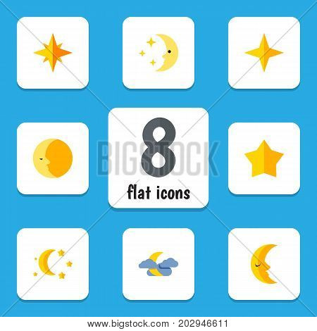 Flat Icon Night Set Of Star, Starlet, Midnight And Other Vector Objects