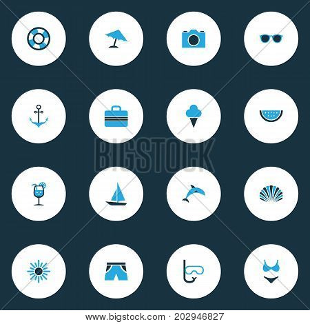 Season Colorful Icons Set. Collection Of Swimsuits, Umbrella, Sun And Other Elements