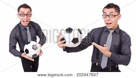 Funny man with football isolated on white