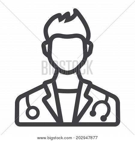 Doctor line icon, medicine and healthcare, person sign vector graphics, a linear pattern on a white background, eps 10.