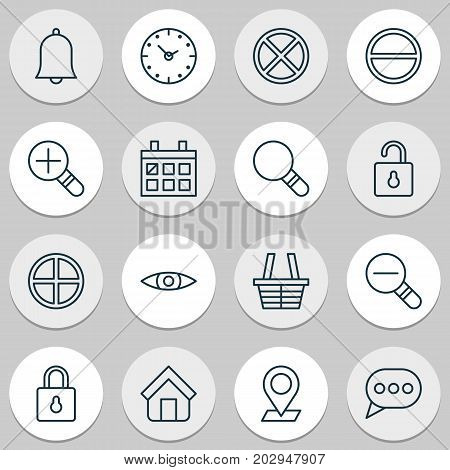 Web Icons Set. Collection Of Safeguard, Bell, Pinpoint And Other Elements