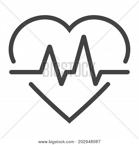 Heartbeat line icon, medicine and healthcare, pulse sign vector graphics, a linear pattern on a white background, eps 10.