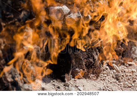 Yanar Dag meaning burning mountain is a natural gas fire which blazes continuously on a hillside