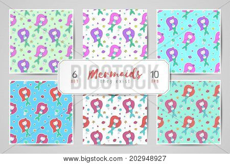 set of vector seamless patterns with cute mermaids