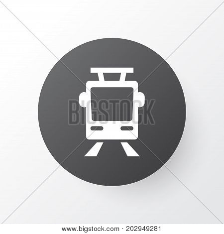 Premium Quality Isolated Streetcar Element In Trendy Style.  Tram Icon Symbol.