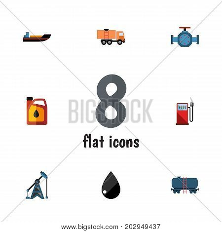 Flat Icon Oil Set Of Boat, Flange, Van And Other Vector Objects