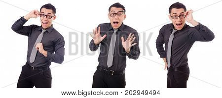 Young smiling man isolated on white