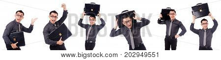 Young man holding briefcase isolated on white